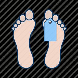 cadaver, dead, death, deceased, label, lifeless, toe tag icon