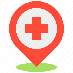 health, hospital, location, map, medical, pin icon