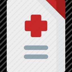 aid, emergency, health, healthcare, hospital, medical, record icon