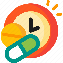 alarm, clock, pills, schedule, time, timer, watch icon