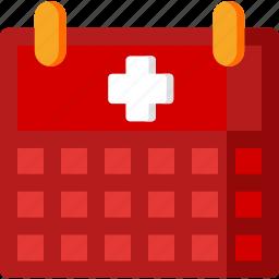 calendar, event, health, healthcare, hospital, medical, treatment icon