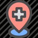 health, hospital, location, pin icon
