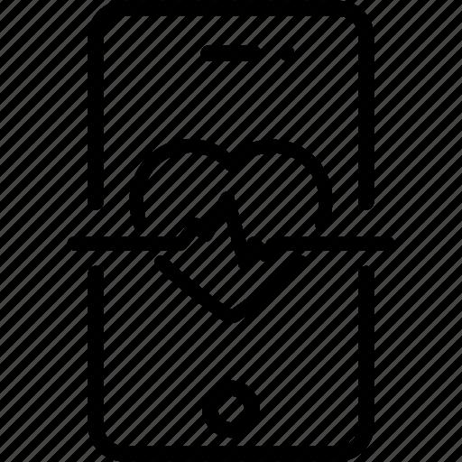 app, ecg, health, healthcare, heart, medical, mobile icon