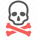 bones, caution, crossbones, danger, death, skull, warning icon