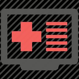 health, hospital, internet, monitor, online, web, website icon