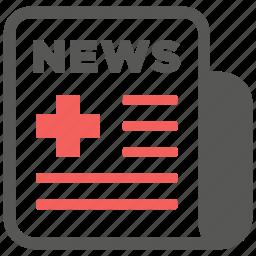 headline, hospital, information, medical, medicine, news, newspaper icon