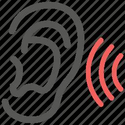 communication, ear, healthcare, hear, hearing, ontology, otology icon
