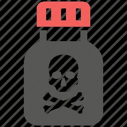 alert, bottle, danger, death, drug, poison, skull icon
