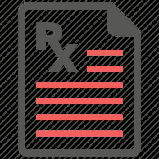 description, doctor, medicine, prescription, report, rx, treatment icon