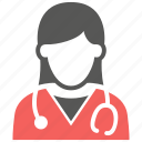 doctor, female, healthcare, hospital, stethoscope icon