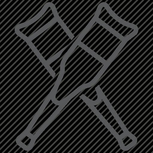 broken, crutches, equipment, health, leg, medical, walk icon