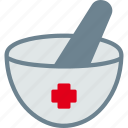 healthcare, medicine, mortar, pestle, pharmacy icon