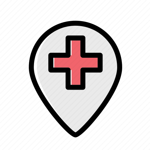 hospital, ic, location, map, medical icon