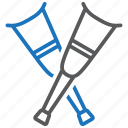 crutches, medical equipment icon