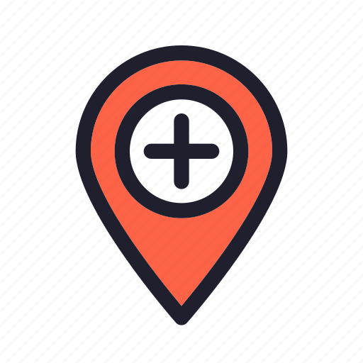 clinic, health, hospital, location, map, physician, pin icon