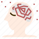anxiety, brain, disease, headache, neurology, stress, worry icon