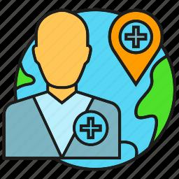 doctor, globe, health care, medical, physician, telemedicine, world icon