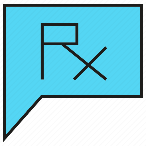 drug, medicine, pharmacy, remedy, rx, speech bubble icon
