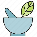 drug, herb, leaf, medicine, mortar, pharmacy, remedy icon