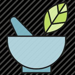 drug, herb, leaf, medicine, mortar, pharmacy, remedy icon
