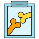 bone, clipboard, diagnosis, document, medical, orthopaedic, orthopedic icon