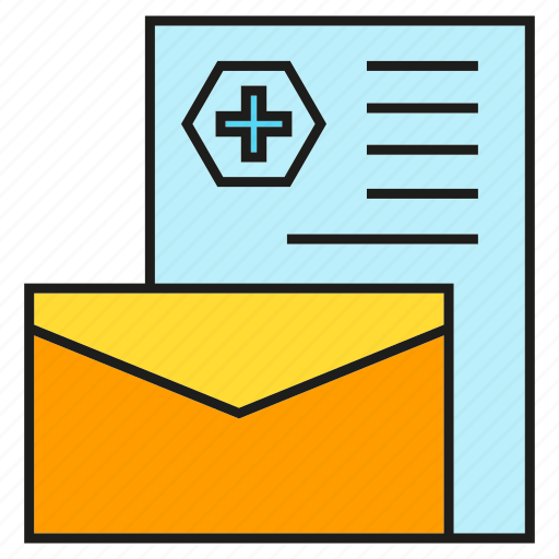 document, email, envelope, letter, medical record, medical report icon