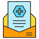 email, envelope, letter, medical, medical report icon
