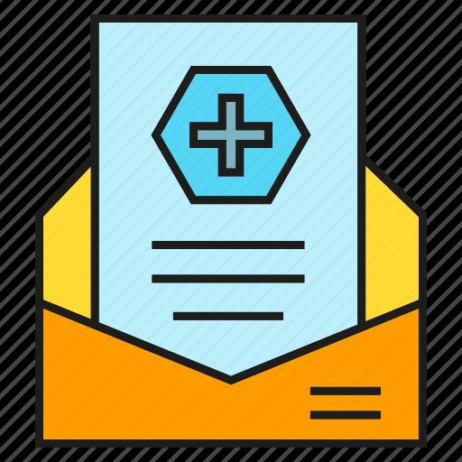 email, envelope, letter, medical, medical report icon