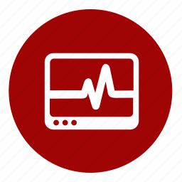 cardiography, diagnosis, hospital, monitor, patient, symptoms icon