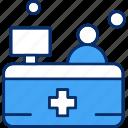desk, help, medical, reception, service