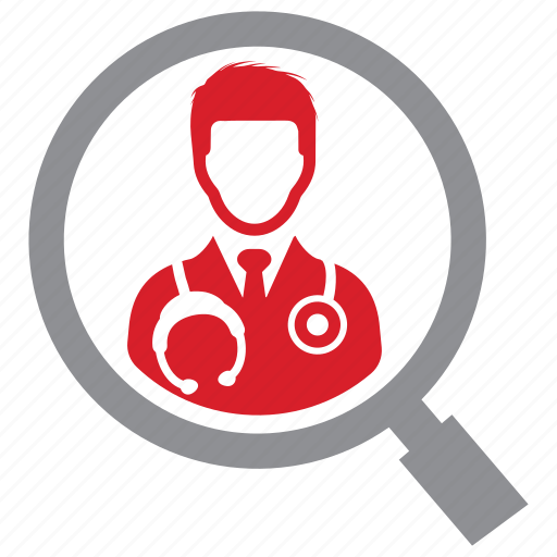 doctor, find, physician, search icon
