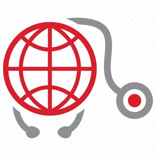 global, healthcare, medical, stethoscope icon