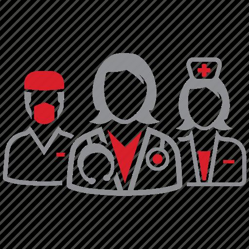 doctor, hospital, medical, team icon