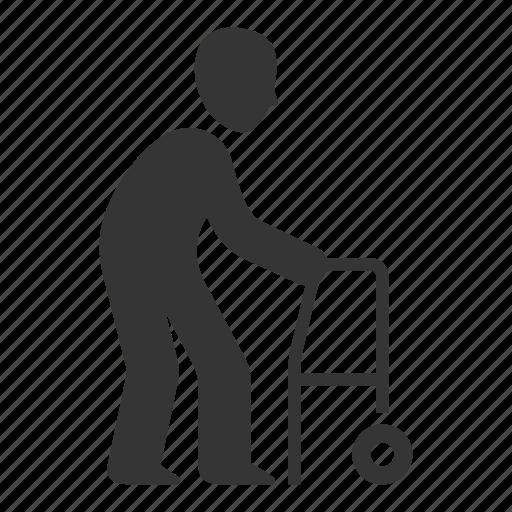 Geriatrics, old man, walker icon - Download on Iconfinder