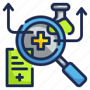 healthcare, magnifying, medical, research, science icon