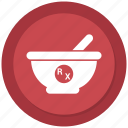 mortar, pestle, pharmacy icon