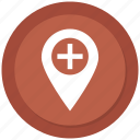hospital location, medical location, navigation icon