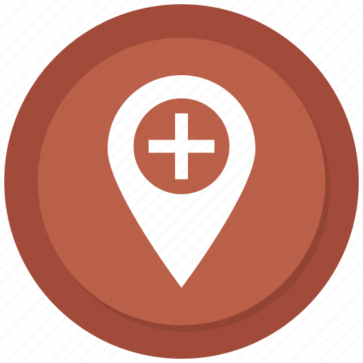hospital location, medical location, navigation icon