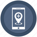 hospital location, medical location, mobile, navigation icon