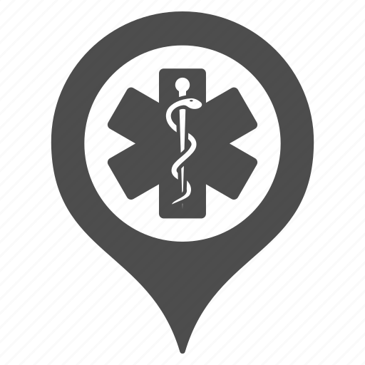 ambulance base, clinic marker, doctor office, emergency entrance, hospital building, map pointer, medical company icon