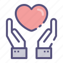beat, care, hand, heart, heartbeat, love icon