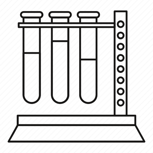 blood, laboratory, line, outline, sample, test, tube icon