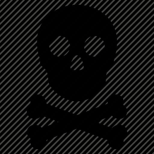 bones, caution, danger, pirate, skull, toxic, warning icon