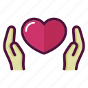 hands, health, healthcare, heart, love, medicine, valentine icon