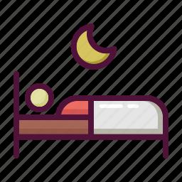 asleep, bed, bedroom, moon, night, sleep, sleeping icon