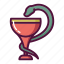 bowl, chalice, healthcare, hygiene, medicine, pharmacy, snake icon