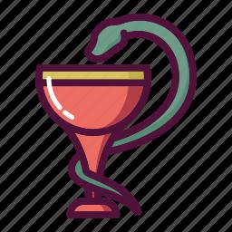 bowl, chalice, healthcare, hygiene, medicine, pharmacy, snake icon
