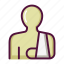 arm sling, bandage, healthcare, hospital, injury, patient, trauma icon
