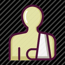 arm sling, bandage, healthcare, hospital, injury, patient, trauma icon