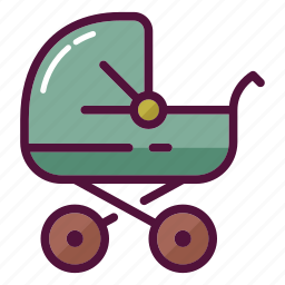 baby, baby carriage, family, infant, mother, newborn, stroller icon